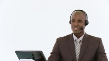 African-american Person working with a headset — Stock Video