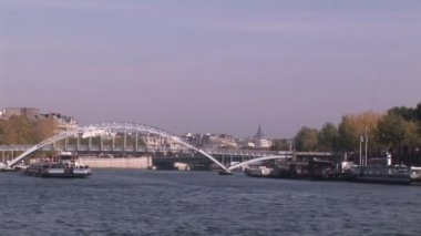 Boat on the River Seine — Stock Video