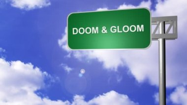 Signpost showing Doom and Gloom Way — Stock Video
