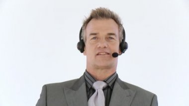Businessman with headset talking — Stock Video