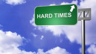 Hard Times Road Sign — Stock Video