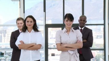 Determinded Business team standing with arms folded — Stock Video