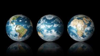 Three Globes Spinning — Stock Video