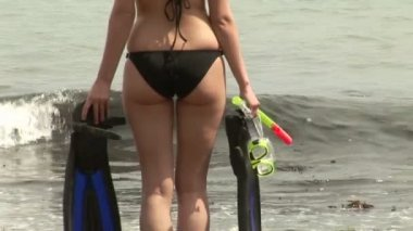 Attractive woman on Beach — Vídeo Stock