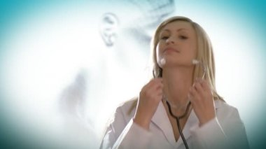 Woman doctor using her stethoscope — Stock Video
