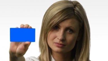 Young beautiful business woman holding files 6 — Stock Video