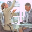Business people throwing up money in slow motion — Stock Video