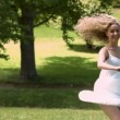 Blonde dancing in slow motion — Video