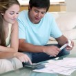 Stock Video: Young couple doing their accounts