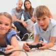 Cute children playing video games — Stock Video #23697359