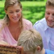 Two children reach into a picnic basket while sitting in the grass with their parents — Stock Video #23697705