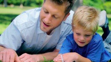 Otec mluvil s jeho syna a ukázal na zem, protože leží v trávě — Stock video