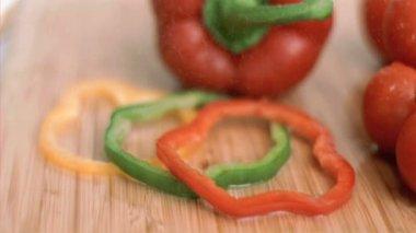 Several vegetables in super slow motion — Stock Video