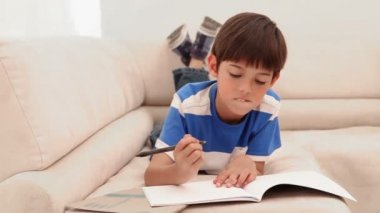 彼は宿題をやっている少年 — ストックビデオ