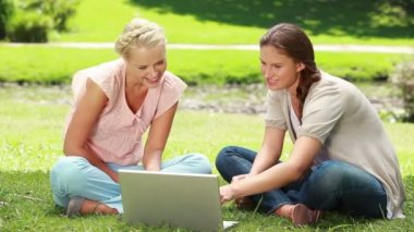 Two women sit on the grass as they use a laptop together and then both look at the camera — Stock Video
