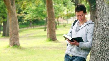 Man lutar sig mot ett träd som han läser en bok innan kameran medan leende — Stockvideo