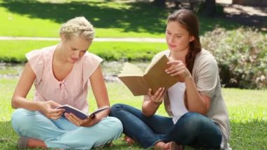 Two women read books in the park as one shows her friend her book and they laugh — Stock Video