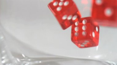 Several dice in super slow motion falling — Stock Video