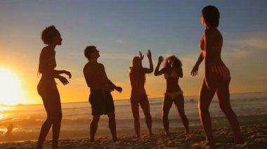 Mladí lidé hrát plážový míč — Stock video