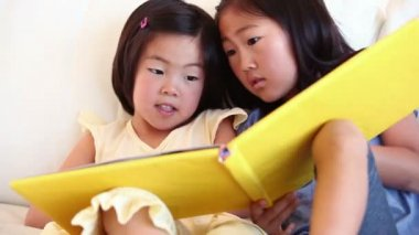 Two girls reading a book together — Stock Video