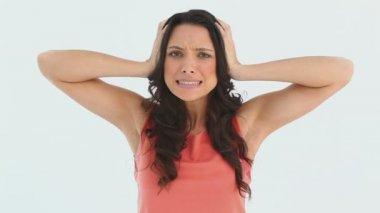 Woman panicking about something — Stock Video