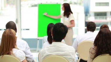 Affärskvinna som visar en styrelse — Stockvideo