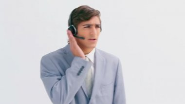 Businessman wearing a headset — Stock Video