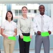 Five business people holding signs — Stockvideo