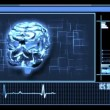 Digital interface featuring revolving brain in blue — Stock Video #23714813