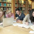 Group of students learning in a library — Vídeo Stock