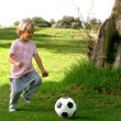 Child kicking a ball — Stock Video