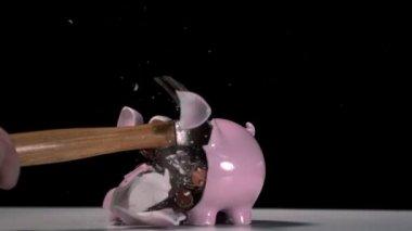 Hammer breaking a piggy bank — Stock Video