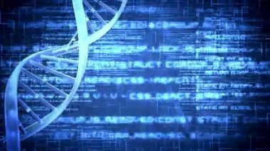 Blue DNA Helix with flying text — Stockvideo