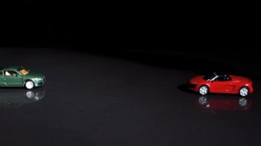 Crash between two toy cars in slow-motion — Stock Video