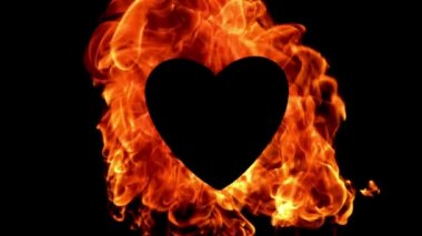 Flame of fire burning around a black heart — Stock Video