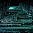 Circuit board corridor with data columns animation — Stock Video