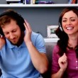 Couple listening to music and acting silly — Stock Video