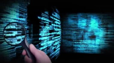 Montage of a screen showing binary code and magnifying glass — Stock Video