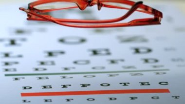 Reading glasses falling on eye test — Stock Video