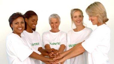 Volunteers raising hands together — Stock Video