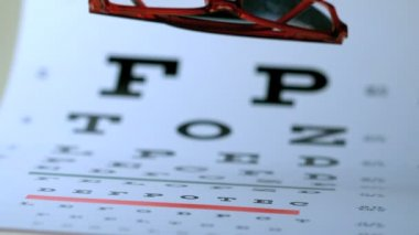 Two pairs of glasses falling on eye test — Stock Video