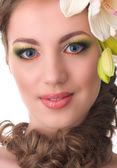 蘭の花と美しい女性 — ストック写真