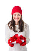 Christmas woman with giftbox — Stok fotoğraf