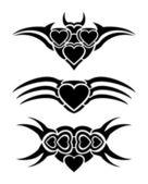 Hearts tribal tattoo — Stock Vector