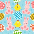 Stock Vector: Easter seamless background with rabbits and chickens