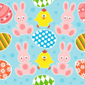 Easter seamless background with rabbits and chickens — Stock Vector