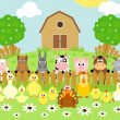 Farm background with animals — Stock Vector #23583745