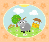 Farm background with goat — Stock Vector