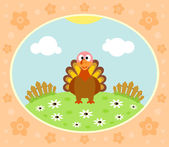 Farm background with turkey — Stock Vector