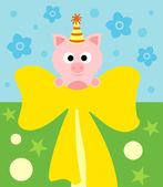 Cartoon background card with pig — Stock Vector